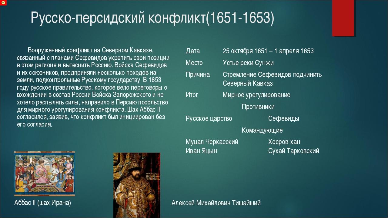 Русско-персидский конфликт(1651-1653) Вооруженный конфликт на Северном Кавказ...