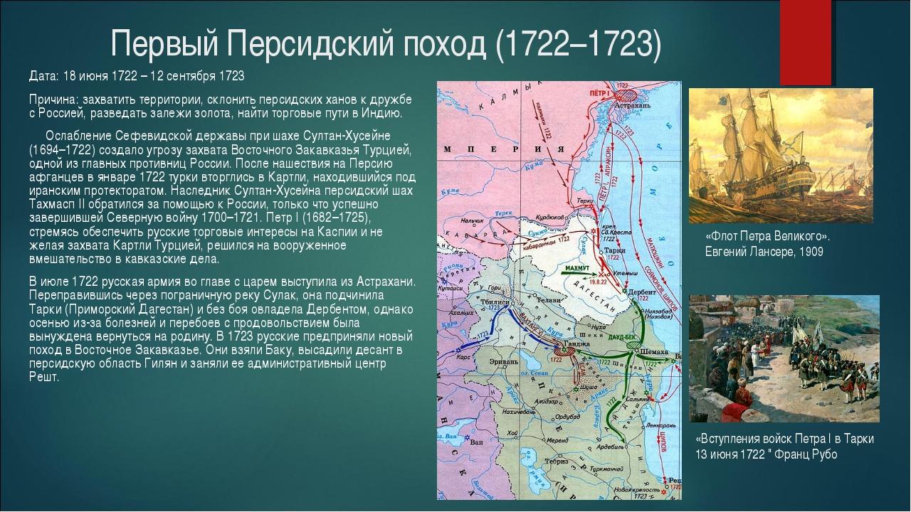 Первый Персидский поход (1722–1723) Дата: 18 июня 1722 – 12 сентября 1723 Пр...