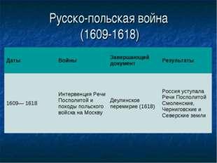 Русско-польская война (1609-1618) ДатыВойныЗавершающий документРезультаты