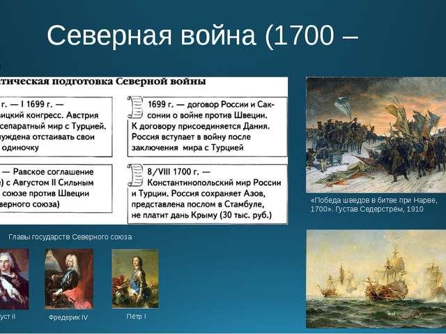 Северная война (1700 – 1721) «Победа шведов в битве при Нарве, 1700». Густав...