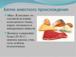 Белки животного происхождения Мясо. В питании это основной источник полноценн