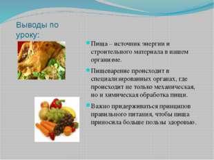 Выводы по уроку: Пища – источник энергии и строительного материала в нашем ор