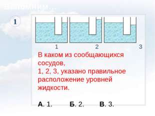 1 2 3 В каком из сообщающихся сосудов, 1, 2, 3, указано правильное расположе