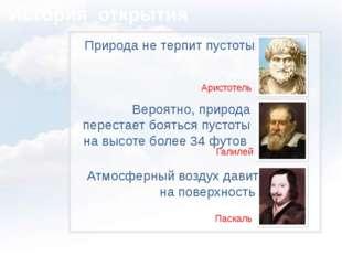 История открытия Природа не терпит пустоты Аристотель Вероятно, природа пере