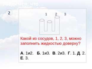 1 2 3 Какой из сосудов, 1, 2, 3, можно заполнить жидкостью доверху? А. 1и2.