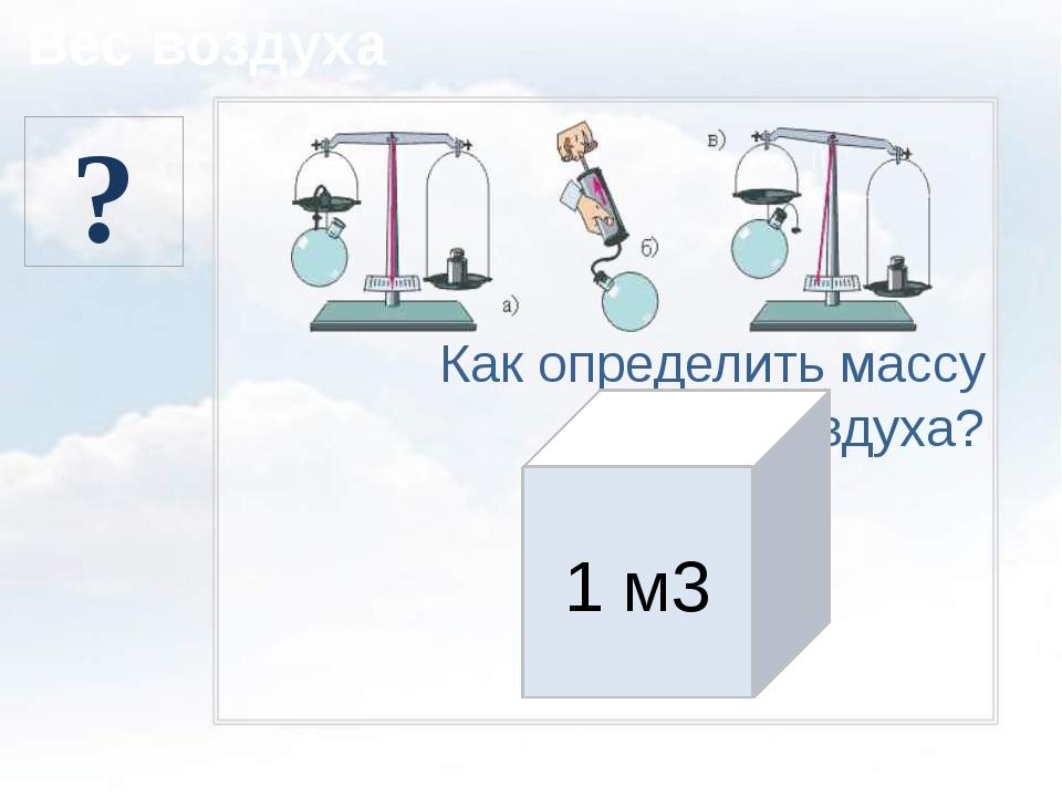 Вес воздуха Как определить массу воздуха? 1,29 кг 1 м3 ?