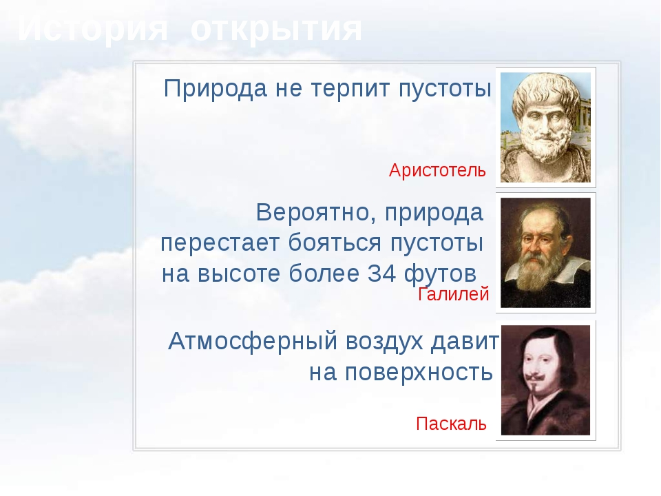 История открытия Природа не терпит пустоты Аристотель Вероятно, природа пере...