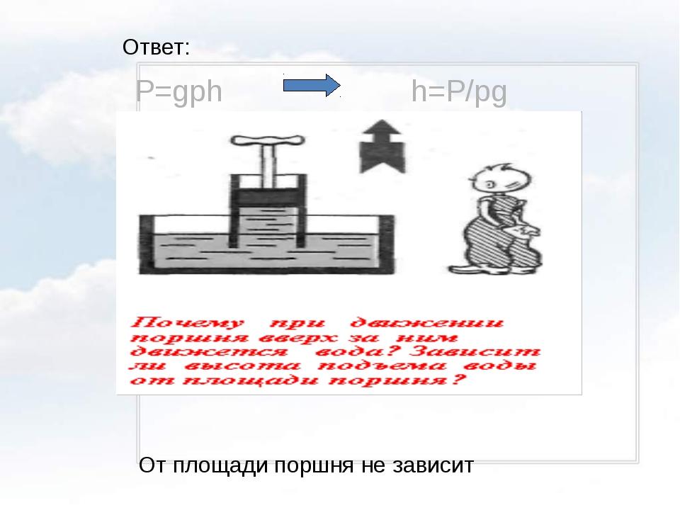 Ответ: P=gph h=P/pg От площади поршня не зависит