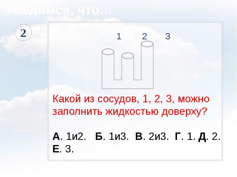1 2 3 Какой из сосудов, 1, 2, 3, можно заполнить жидкостью доверху? А. 1и2....