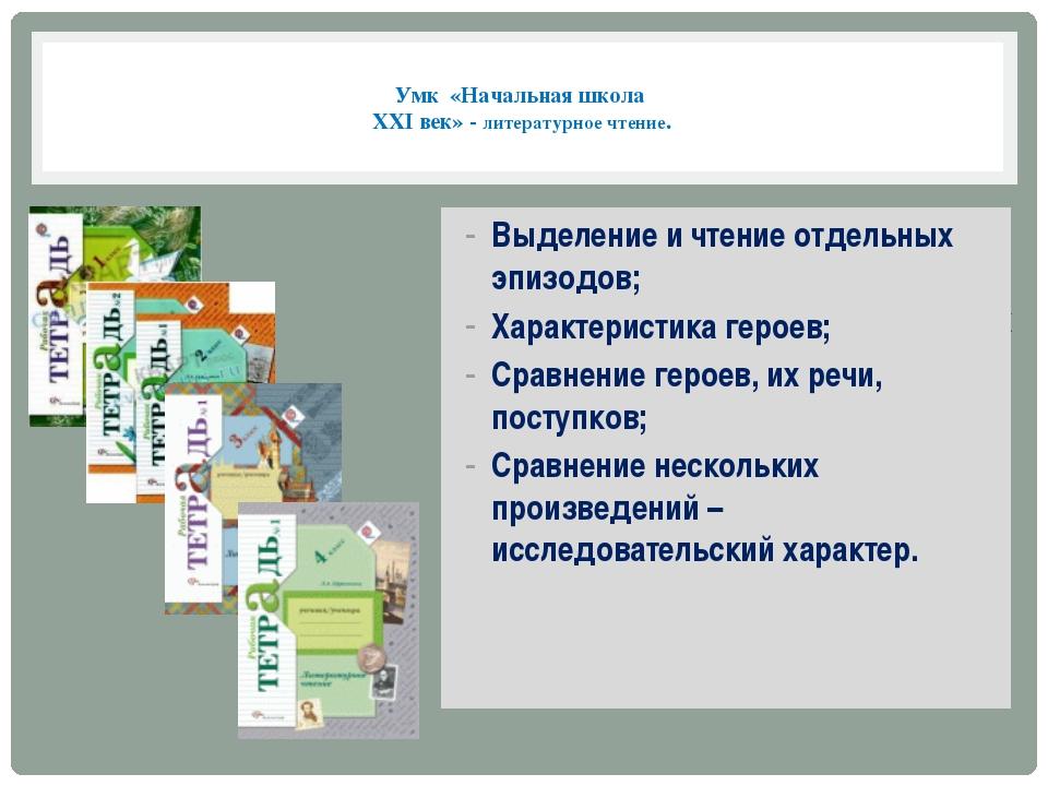 Умк «Начальная школа XXI век» - литературное чтение. Рабочие тетради по лите...