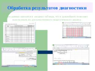 Обработка результатов диагностики Все данные заносятся в сводные таблицы, что