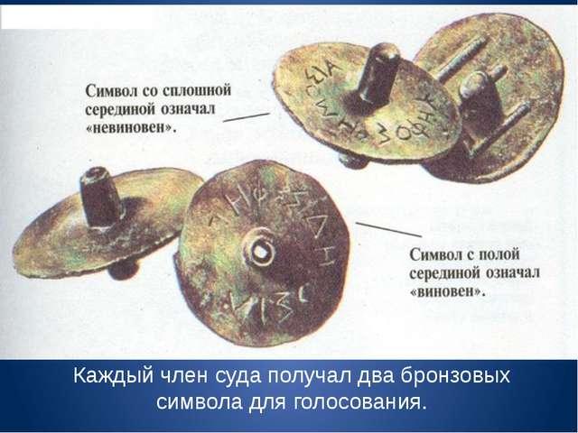Каждый член суда получал два бронзовых символа для голосования.