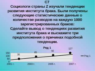 ? С7 Социологи страны Z изучали тенденции развития института брака. Были полу