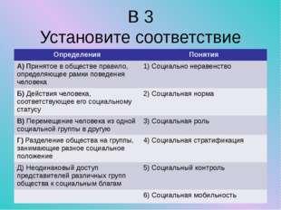 В 3 Установите соответствие Определения Понятия А) Принятое в обществе правил