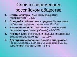 Слои в современном российском обществе Элита (олигархи, высшая бюрократия, ге
