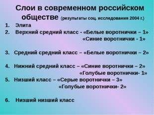 Слои в современном российском обществе (результаты соц. исследования 2004 г.)