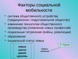 Факторы социальной мобильности система общественного устройства (традиционное