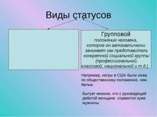 Виды статусов Групповой положение человека, которое он автоматически занимает