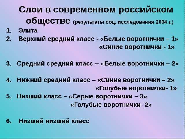 Слои в современном российском обществе (результаты соц. исследования 2004 г.)...