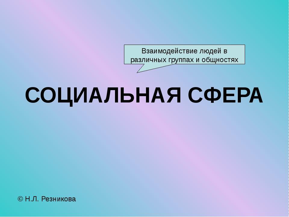 СОЦИАЛЬНАЯ СФЕРА © Н.Л. Резникова Взаимодействие людей в различных группах и...