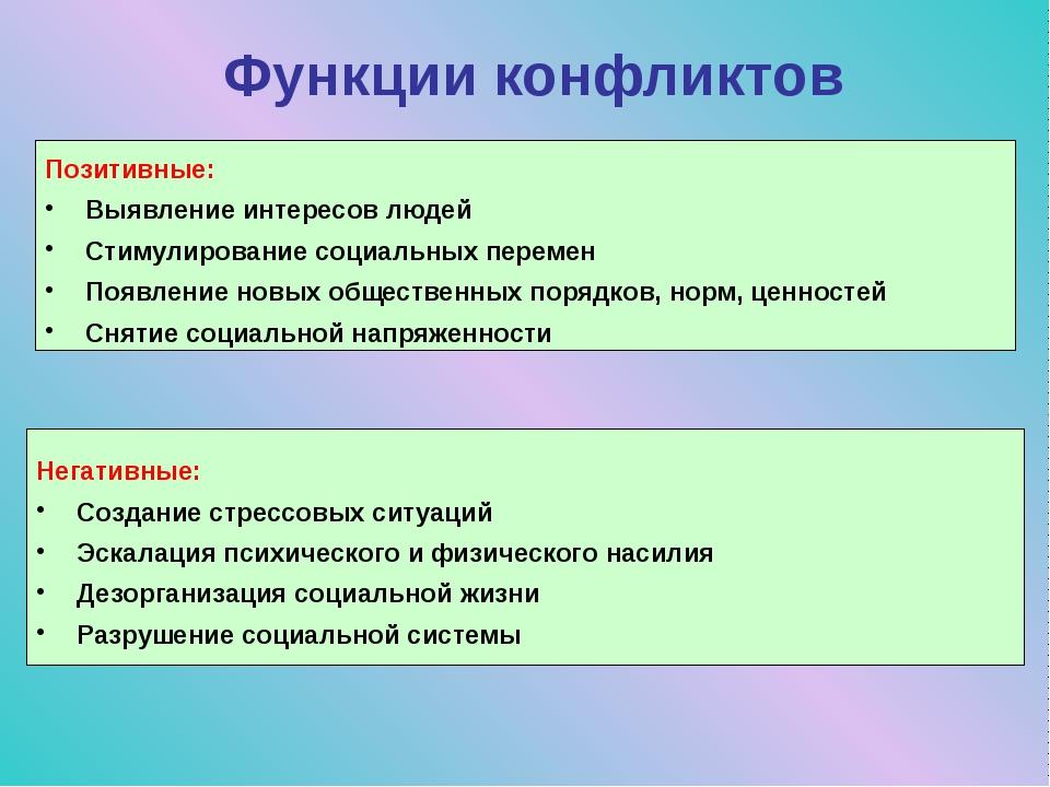 Функции конфликтов Позитивные: Выявление интересов людей Стимулирование социа...