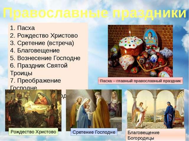 Православные праздники 1. Пасха 2. Рождество Христово 3. Сретение (встреча) 4...