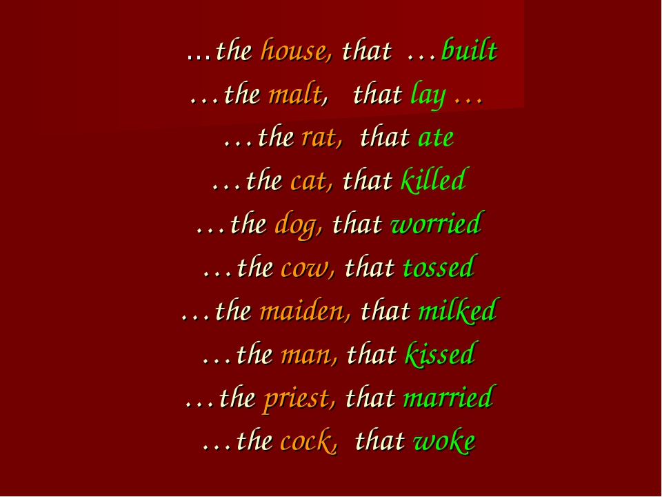 …the house, that …built …the malt, that lay … …the rat, that ate …the cat, t...