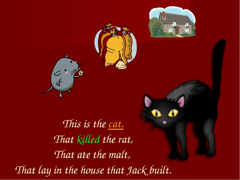 This is the cat, That killed the rat, That ate the malt, That lay in the hou...