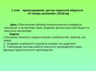1 этап - проектирование детско–взрослой общности «Я теперь школьник» (2010го