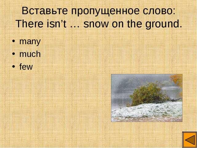 Вставьте пропущенное слово: There isn't … snow on the ground. many much few