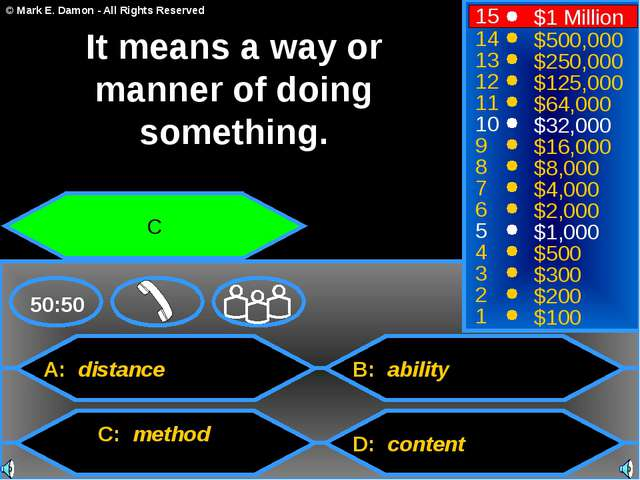 A: distance C: method B: ability D: content 50:50 15 14 13 12 11 10 9 8 7 6 5...