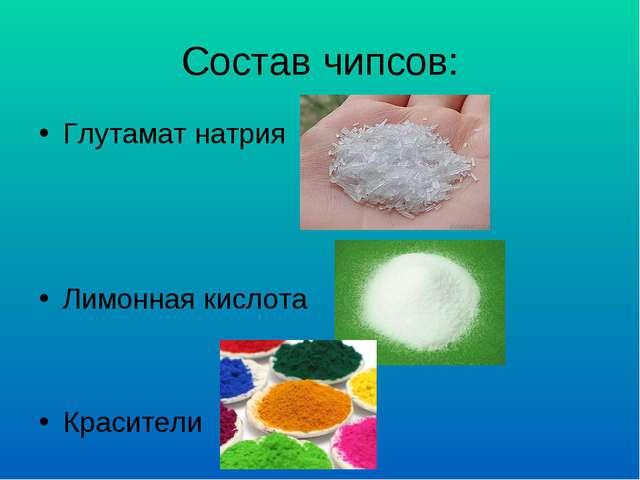 Состав чипсов: Глутамат натрия Лимонная кислота Красители