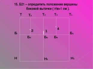 1 15. Б21 – определить положение вершины боковой вытачки ( п\в=1 см ).