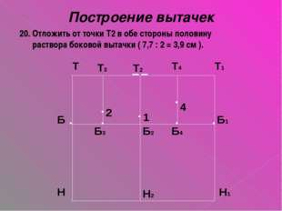Построение вытачек 20. Отложить от точки Т2 в обе стороны половину раствора б