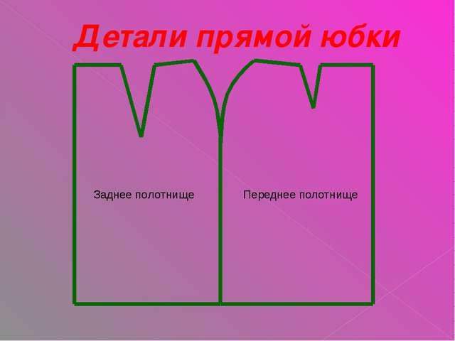 Детали прямой юбки Заднее полотнище Переднее полотнище