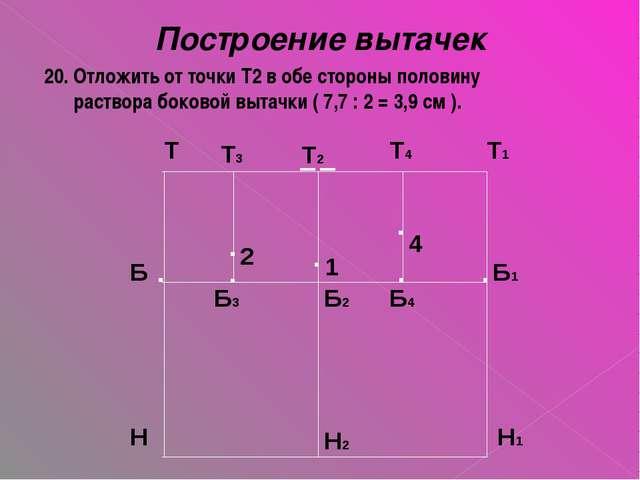 Построение вытачек 20. Отложить от точки Т2 в обе стороны половину раствора б...