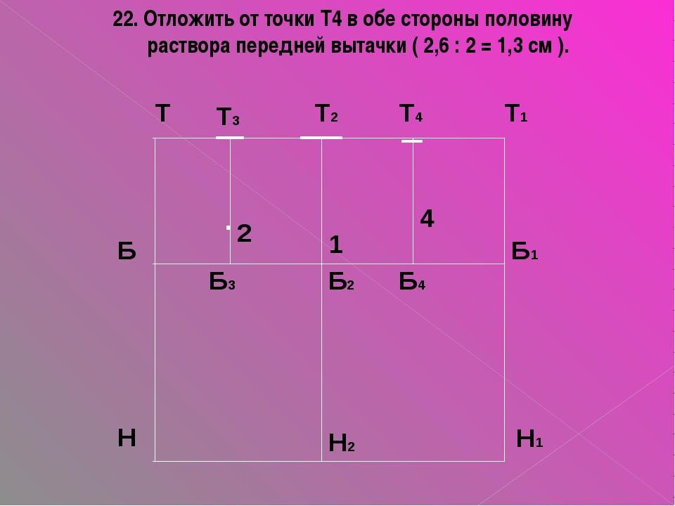 22. Отложить от точки Т4 в обе стороны половину раствора передней вытачки ( 2...