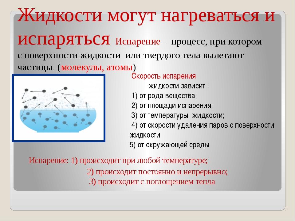 Жидкости могут нагреваться и испаряться Испарение - процесс, при котором с по...