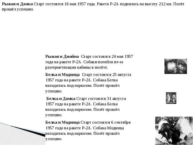 Рыжая и Дамка Старт состоялся 16 мая 1957 года. Ракета Р-2А поднялась на высо...