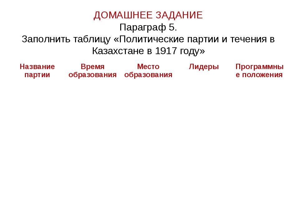ДОМАШНЕЕ ЗАДАНИЕ Параграф 5. Заполнить таблицу «Политические партии и течения...