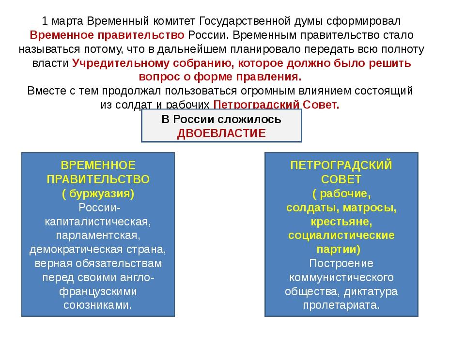 1 марта Временный комитет Государственной думы сформировал Временное правител...