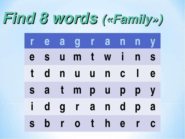 Find 8 words («Family») reagranny esumtwins tdnuuncle...
