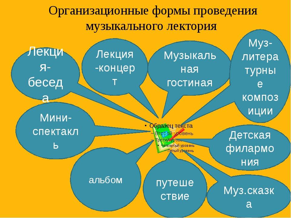 Организационные формы проведения музыкального лектория Лекция -концерт Лекция...