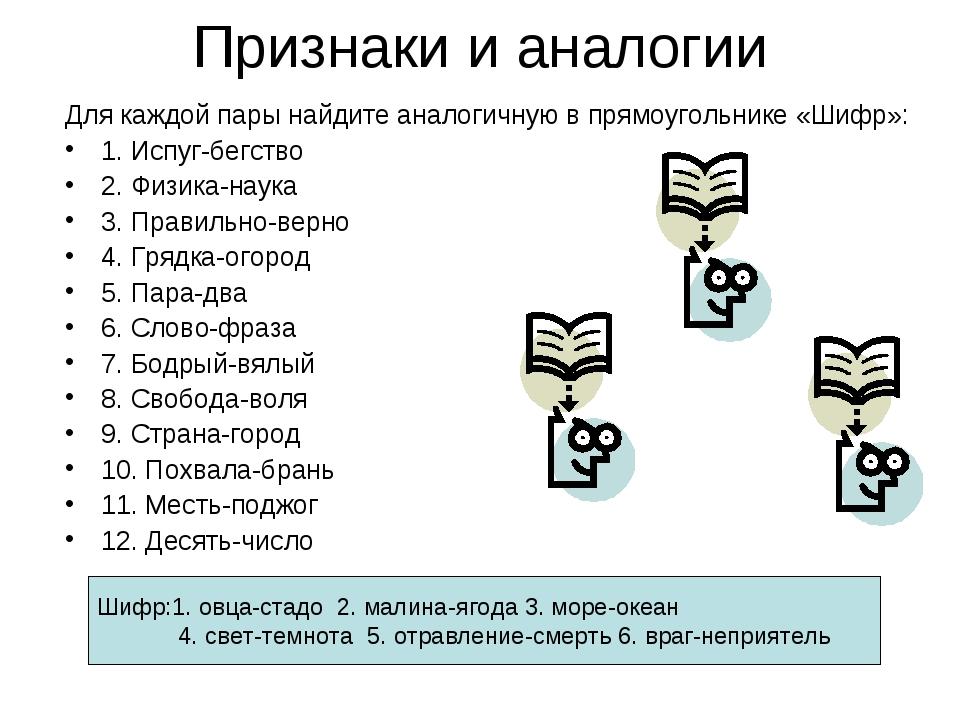 Признаки и аналогии Для каждой пары найдите аналогичную в прямоугольнике «Шиф...
