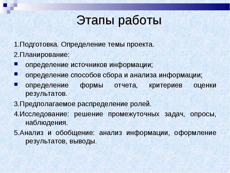 Этапы работы 1.Подготовка. Определение темы проекта. 2.Планирование: определ...