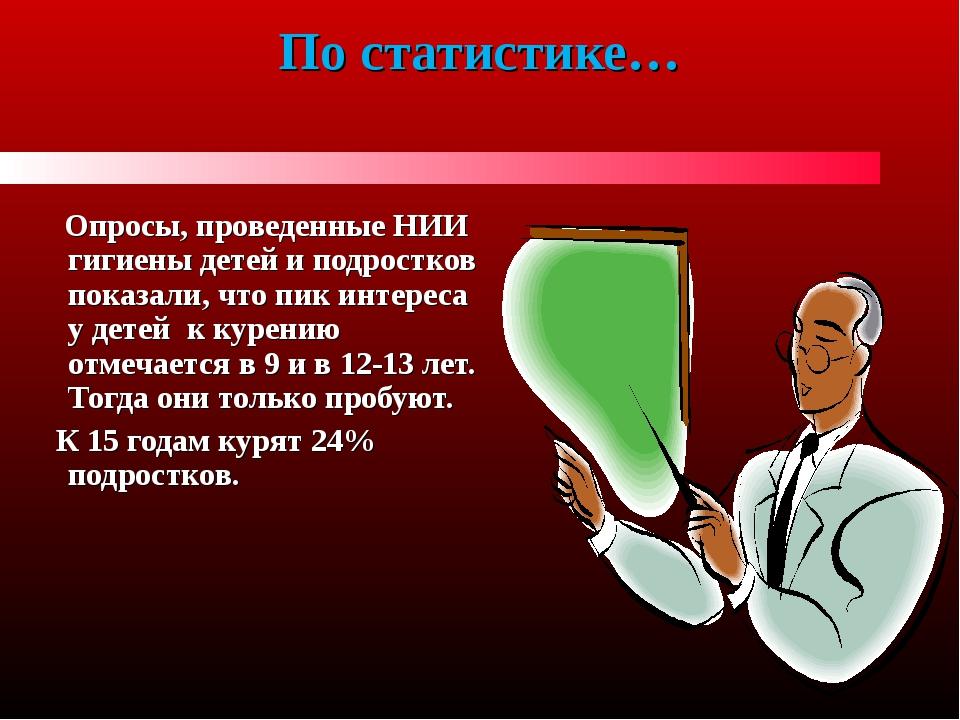 По статистике… Опросы, проведенные НИИ гигиены детей и подростков показали, ч...