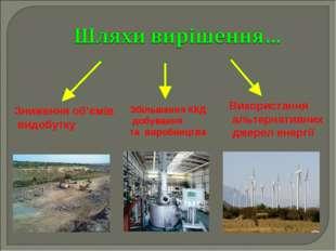 Зниження об'ємів видобутку Використання альтернативних джерел енергії Збільше