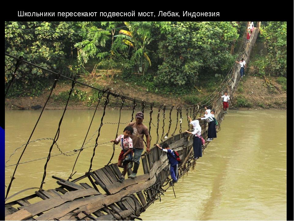 Школьники пересекают подвесной мост, Лебак, Индонезия
