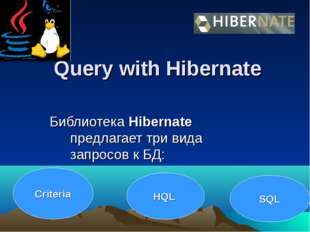 Query with Hibernate Библиотека Hibernate предлагает три вида запросов к БД: