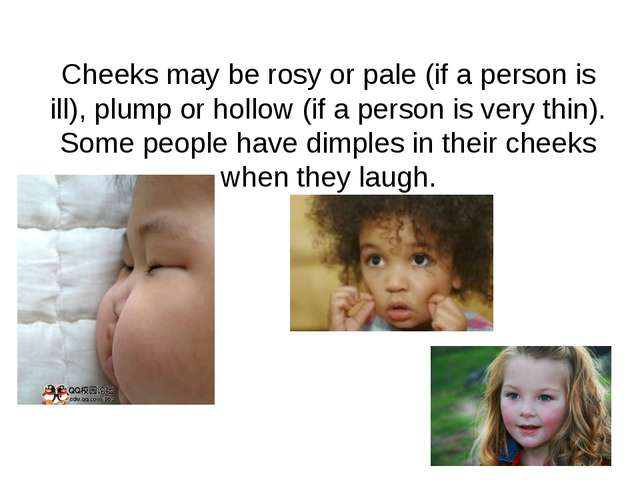 Cheeks may be rosy or pale (if a person is ill), plump or hollow (if a person...